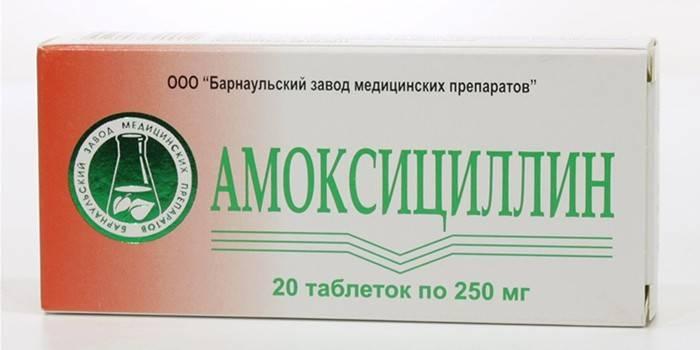 Таблетки Амоксициллин в упаковке