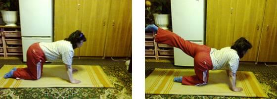 Поднятие ног в положении стоя не четвереньках